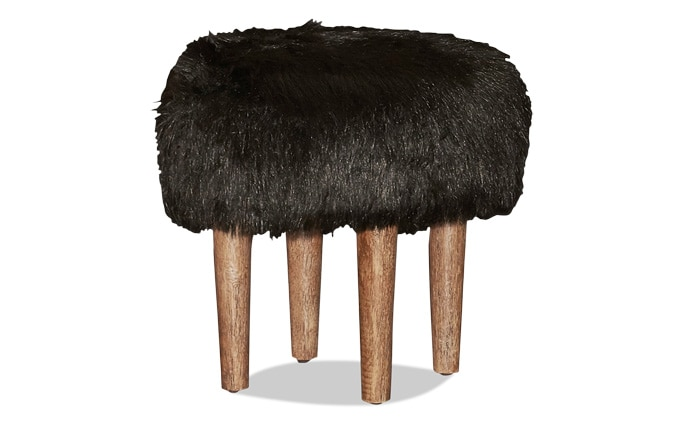 Tonya Black Faux Flokati Stool