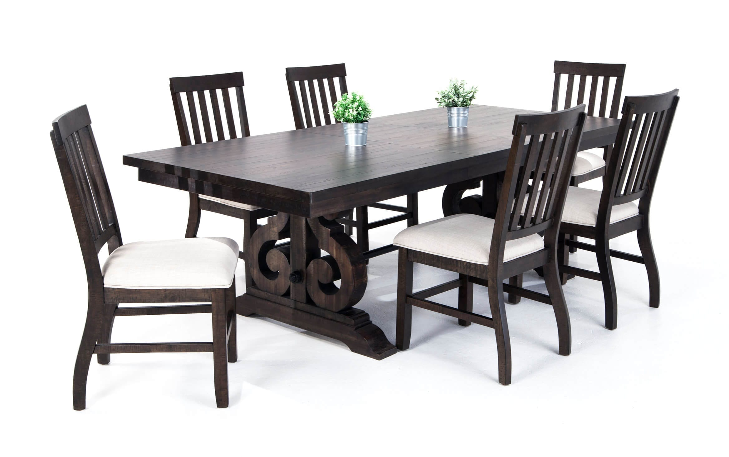 Sanctuary 7 Piece Dining Set With Slat Chairs Bobs Com