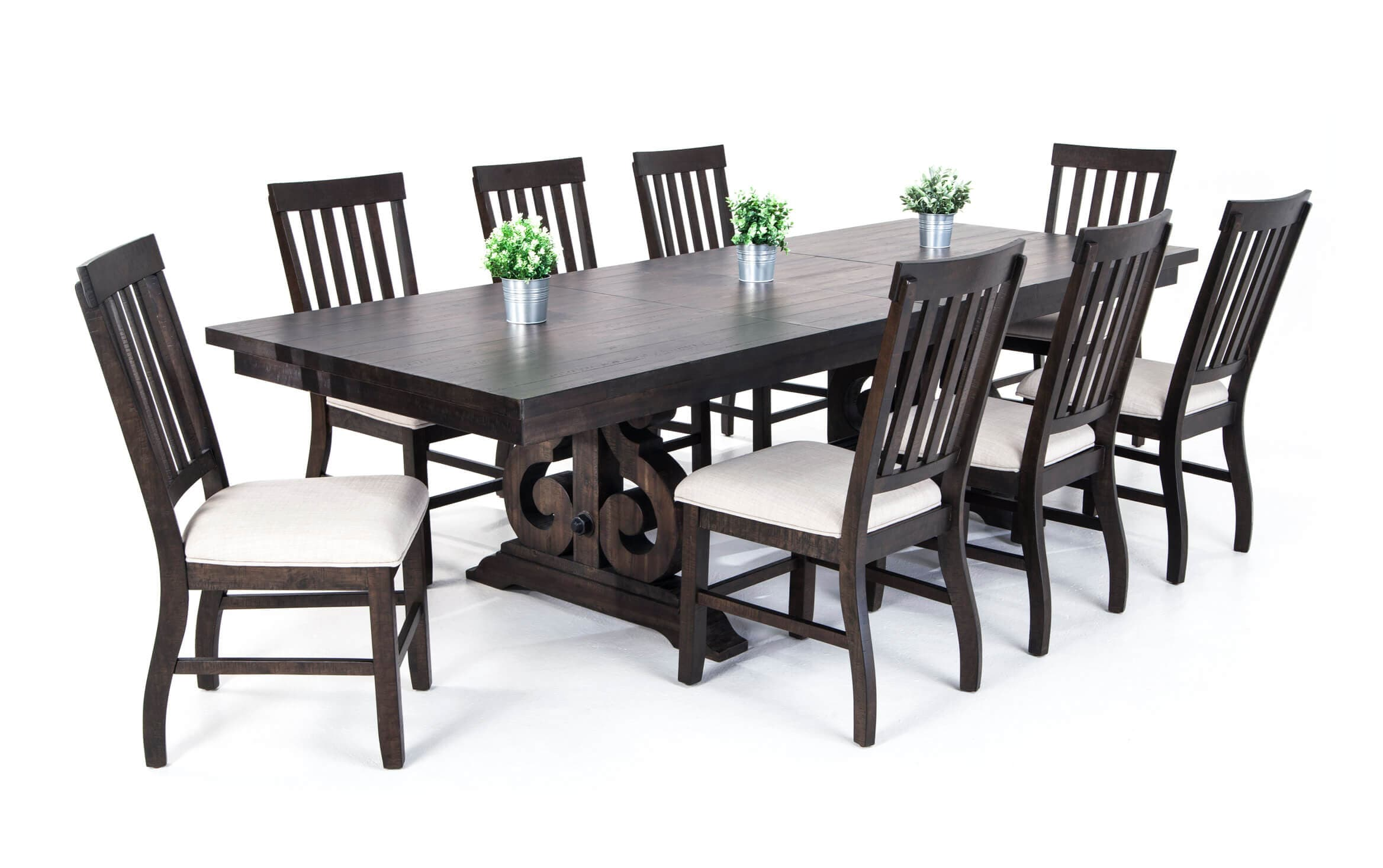9 Piece Dining Set With Slat Chairs