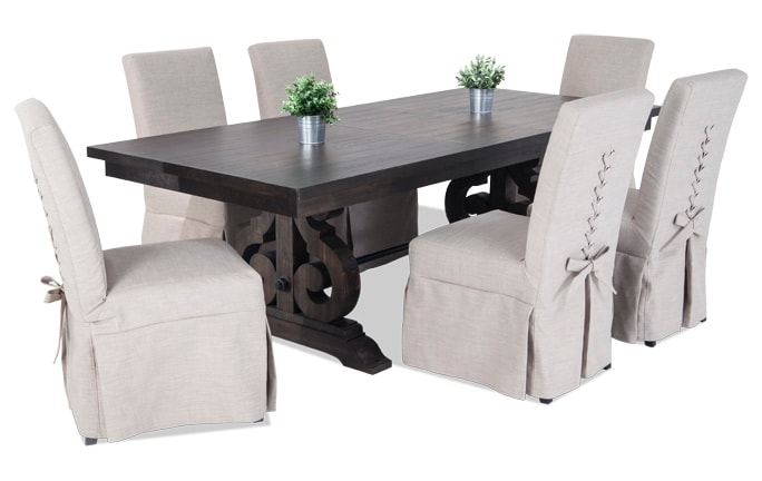 Sanctuary 7 Piece Dining Set With Upholstered Chairs