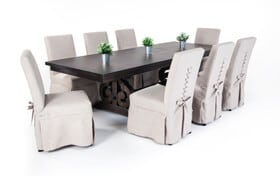 Sanctuary 9 Piece Dining Set with Upholstered Chairs