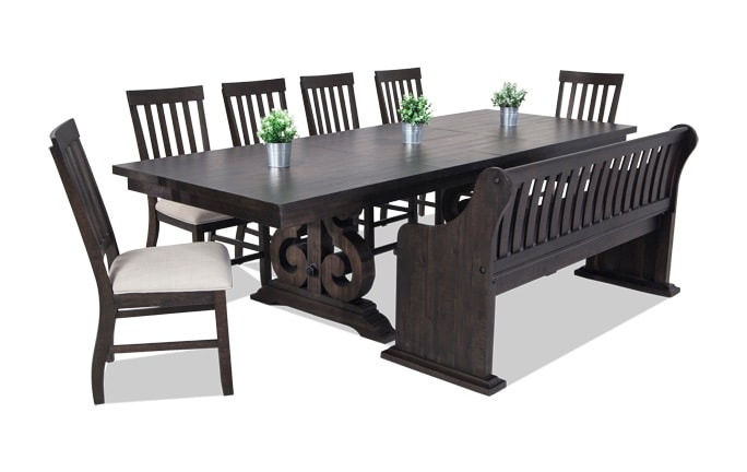 Sanctuary 8 Piece Dining Set With Full Back Storage Bench