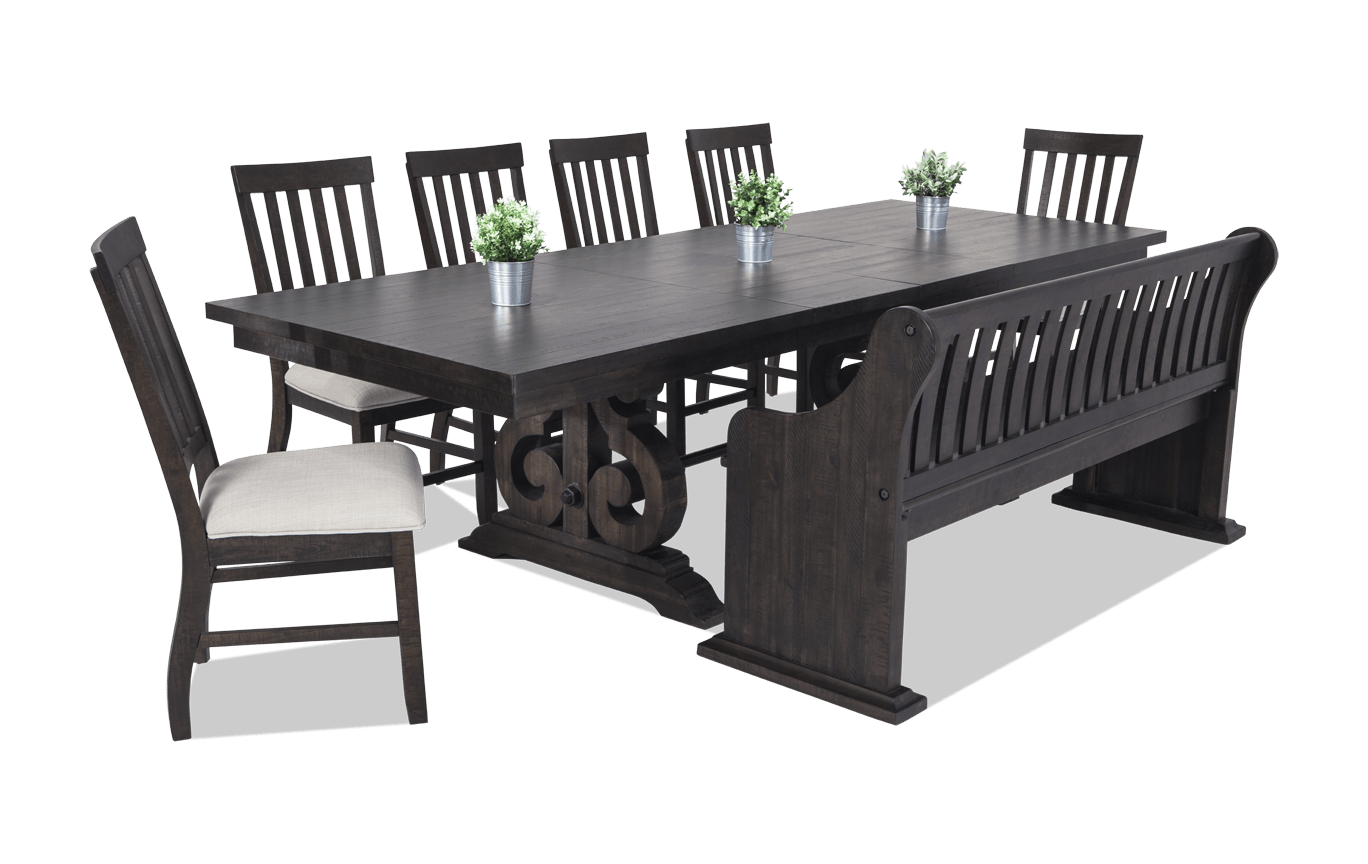 Sanctuary 9 Piece Dining Set with Full Back Storage Bench