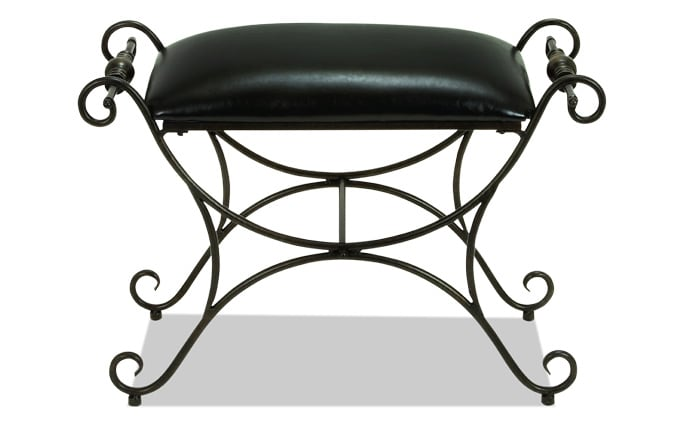 Metal Leather Accent Stool