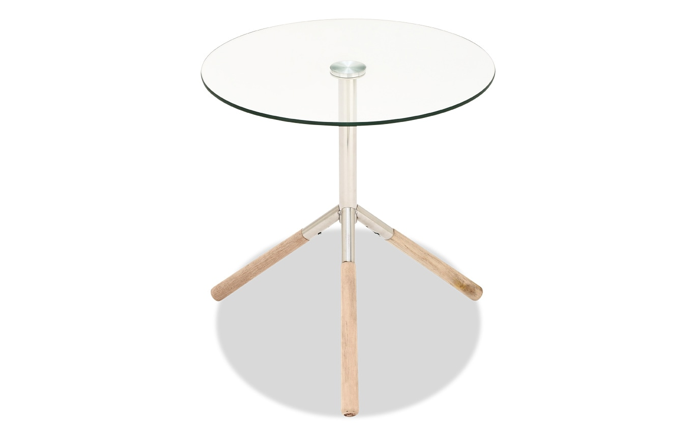 Stainless Steel Wood & Glass Accent Table