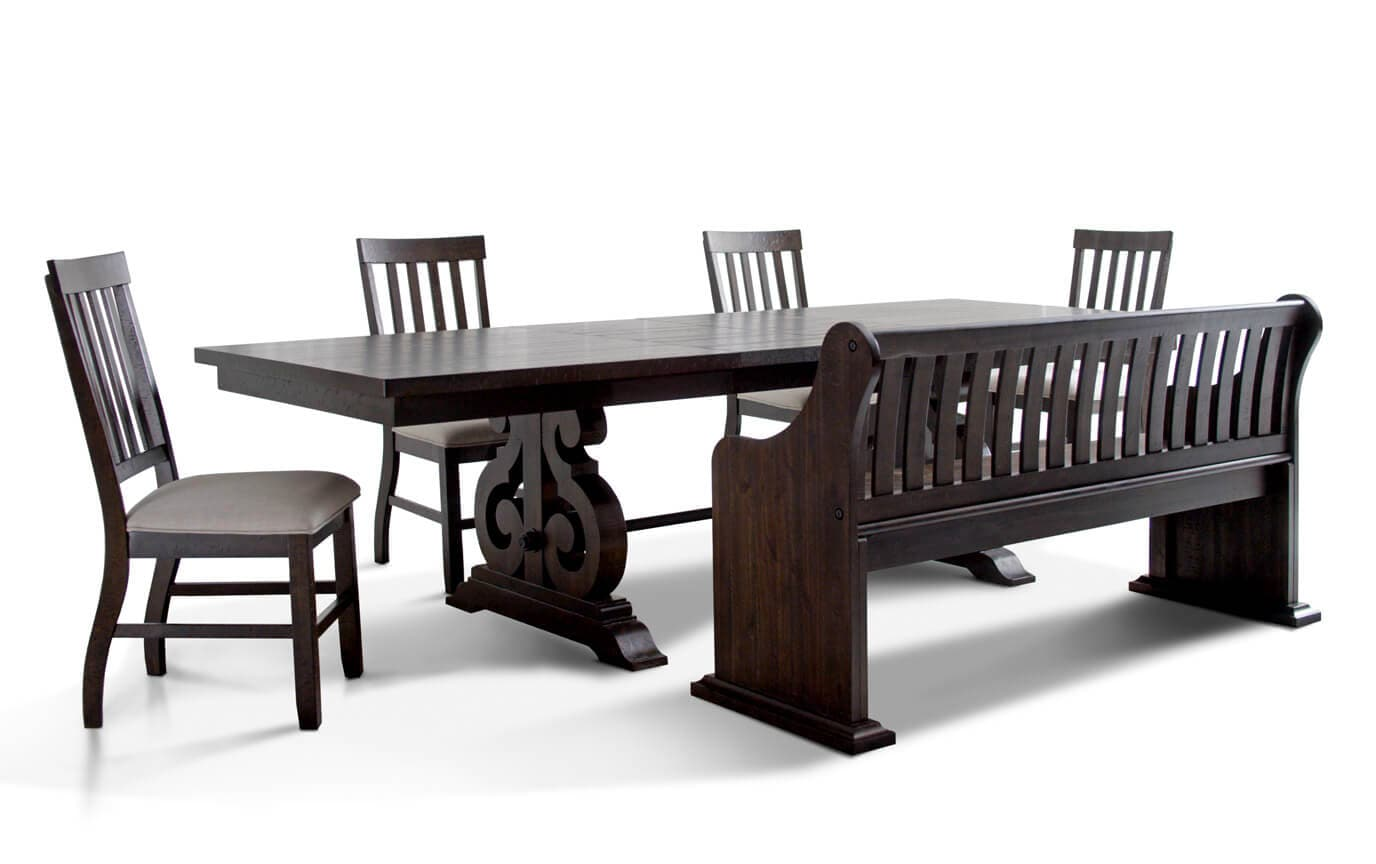 Sanctuary 6 Piece Dining Set With Full Back Storage Bench Bobscom