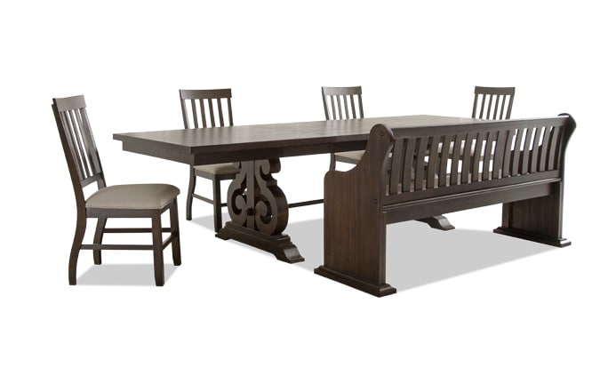 Sanctuary 6 Piece Dining Set With Full Back Storage Bench