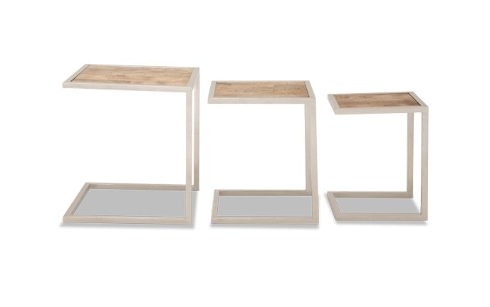 Set of 3 Square Wood Nesting Tables