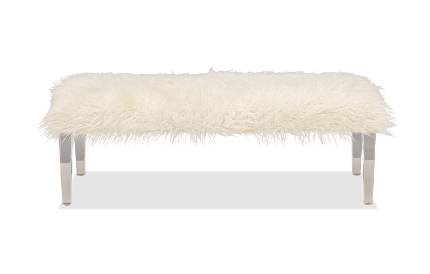 Arctic White Faux Fur Bench