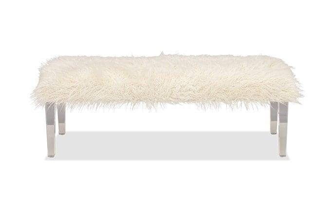 Arctic White Faux Fur Bench