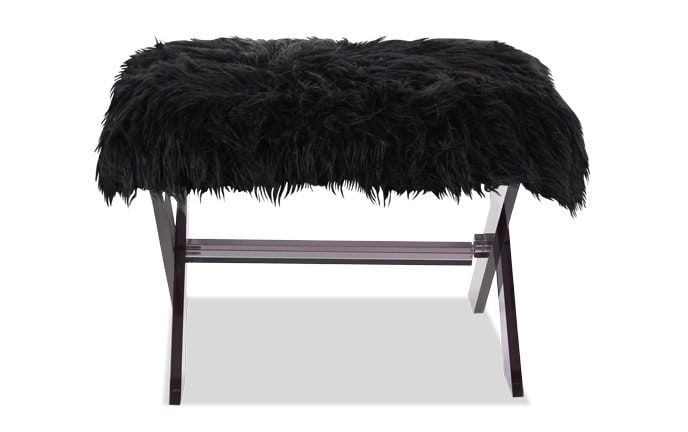 Midnight Faux Fur Stool