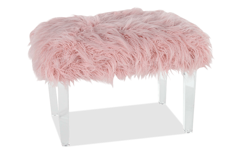 Cotton Candy Faux Fur Stool