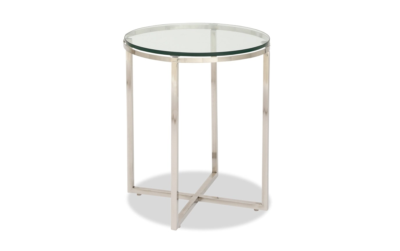Stainless Steel & Glass Side Table