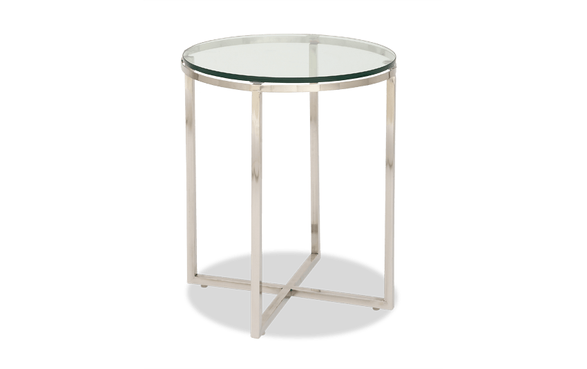 Stainless Steel U0026 Glass Side Table