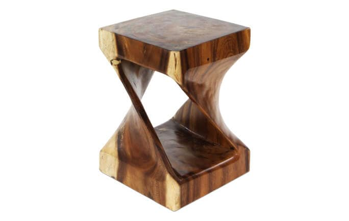 Swirl Wood Wide Side Table
