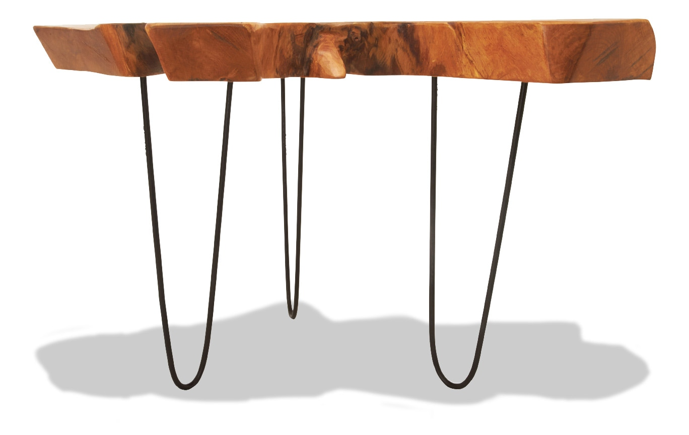 Teak Wood & Metal Accent Table