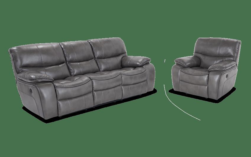 Avenger Gray Power Reclining Sofa & Power Recliner