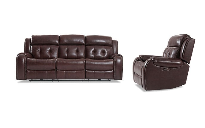 Magellan Leather Power Reclining Sofa & Recliner