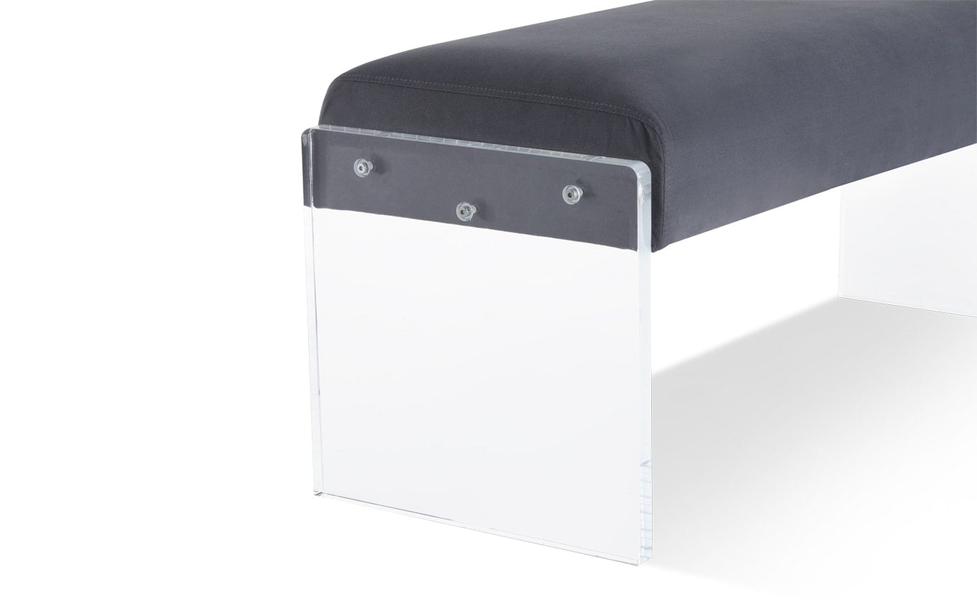 Charcoal Acrylic Accent Bench