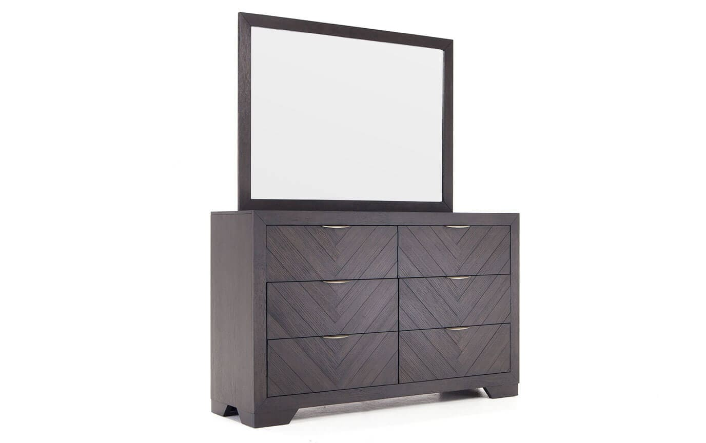 Chevron Dark Oak Dresser & Mirror