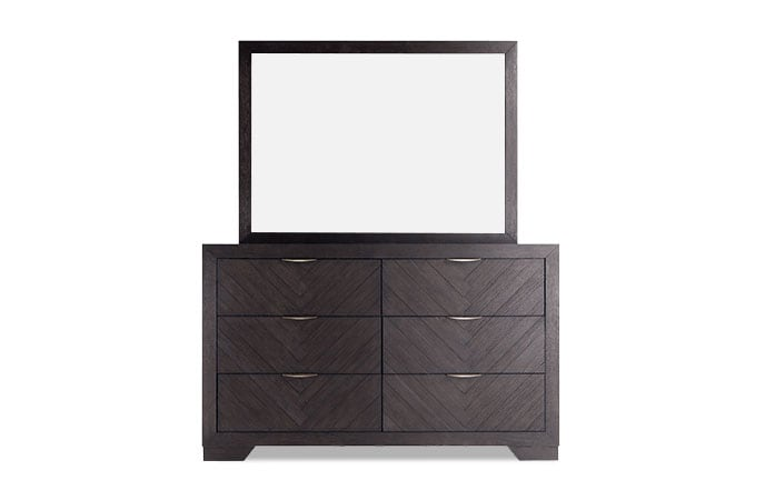 Chevron Dark Oak Dresser & Mirror