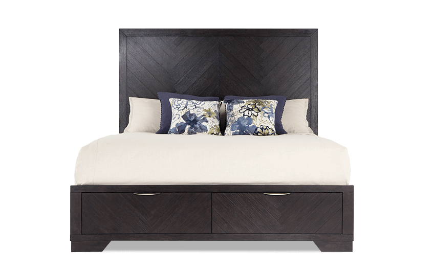 Chevron Storage Bed Dark Oak King