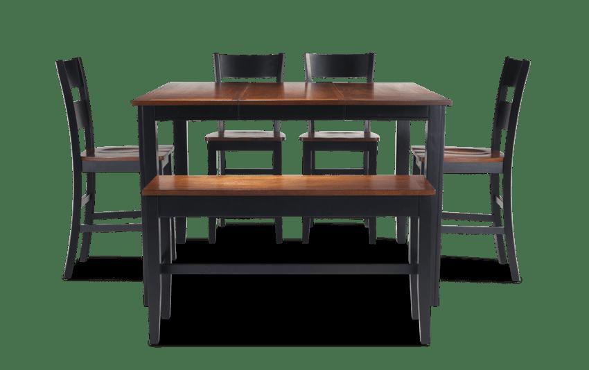 Blake Counter Cherry & Black 6 Piece Set with Storage Bench