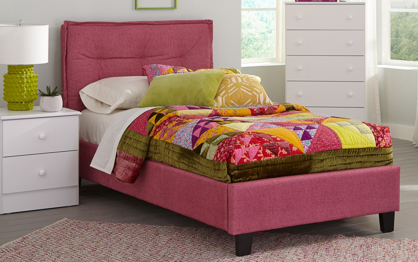 Emory Upholstered Full Pink Bed