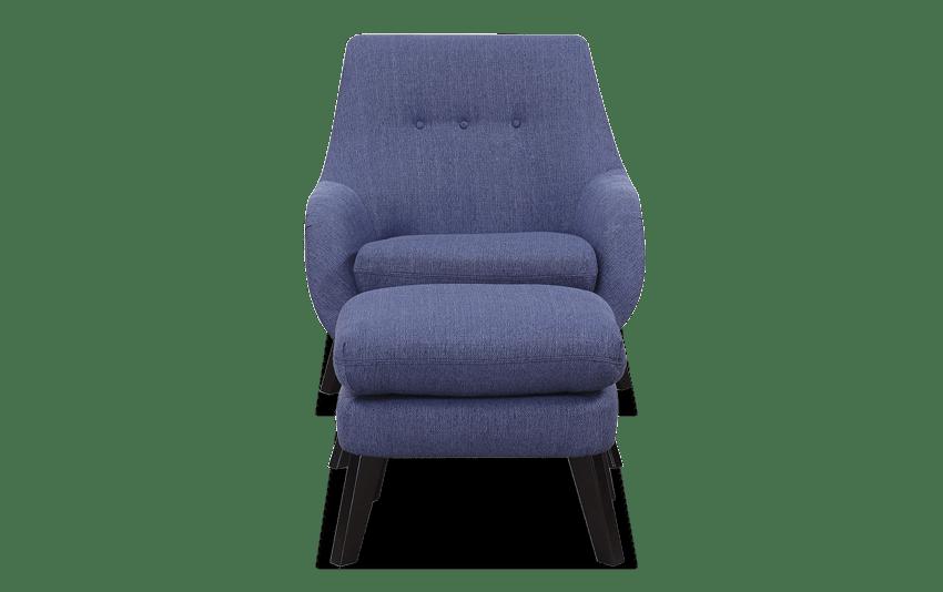 Piper Blue Chair & Ottoman