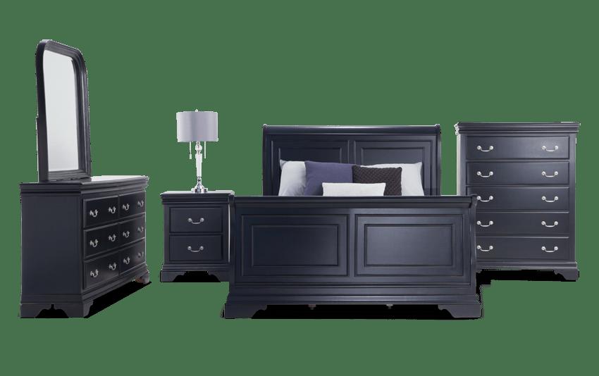 Louie Louie King Black Bedroom Set