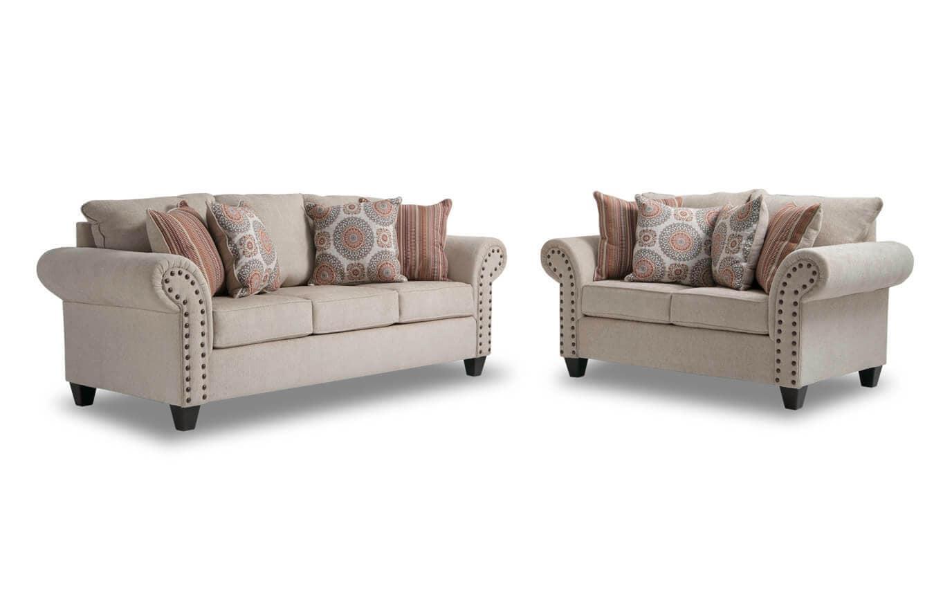 artisan beige sofa loveseat bobs com rh mybobs com bobs furniture sofa table bobs furniture sofa bed