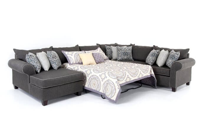 Ashton 4 Piece Right Arm Facing Bob-O-Pedic Gel Sleeper Sectional