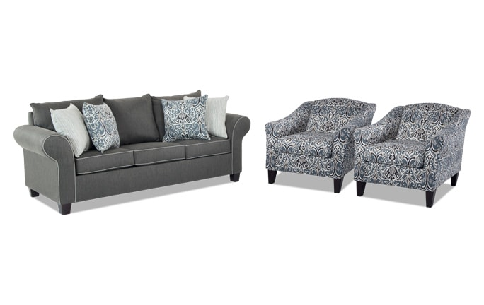 Ashton Sofa & Two Accent Chairs