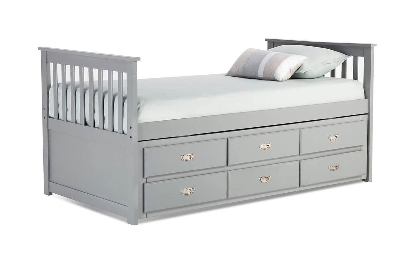 Chadwick Twin Gray Captain Bed with Trundle