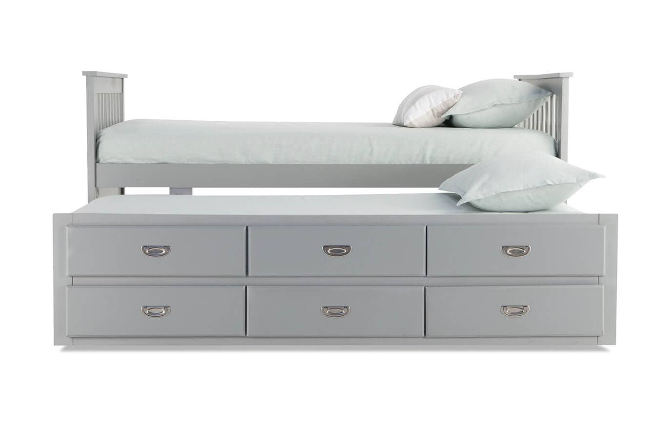 Chadwick Twin Gray Captain Bed With Trundle Bobs Com