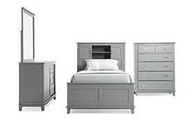 Chadwick Full Gray Bookcase Bedroom Set