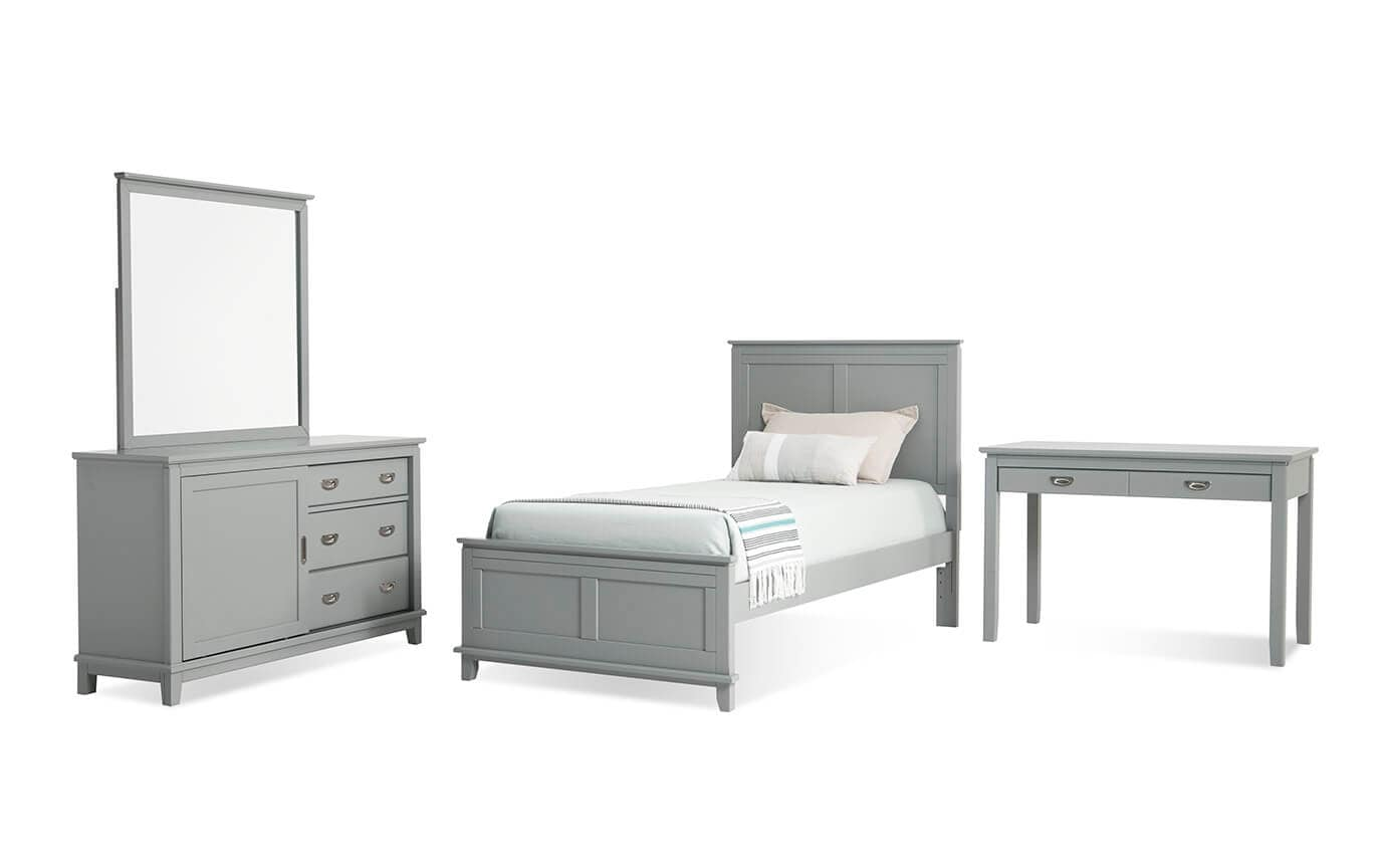 Chadwick Twin Gray Panel Bedroom Set With Desk