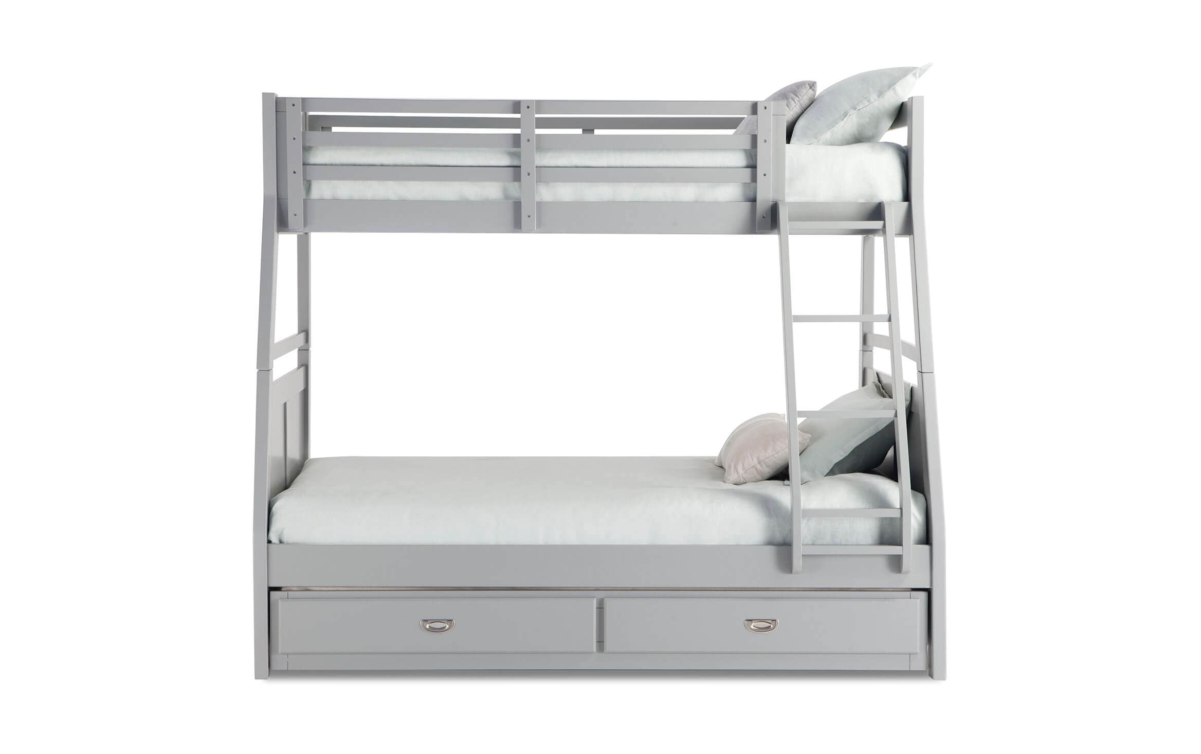Chadwick Twin Full Gray Bunk Bed With Trundle Bobs Com