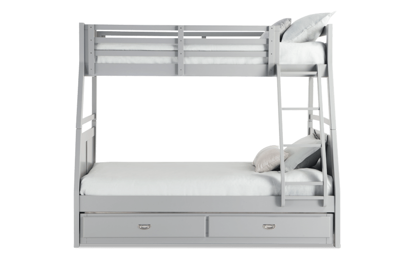 Chadwick Twin/Full Gray Bunk Bed with Trundle