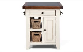 Small White Granite Top Island With Baskets