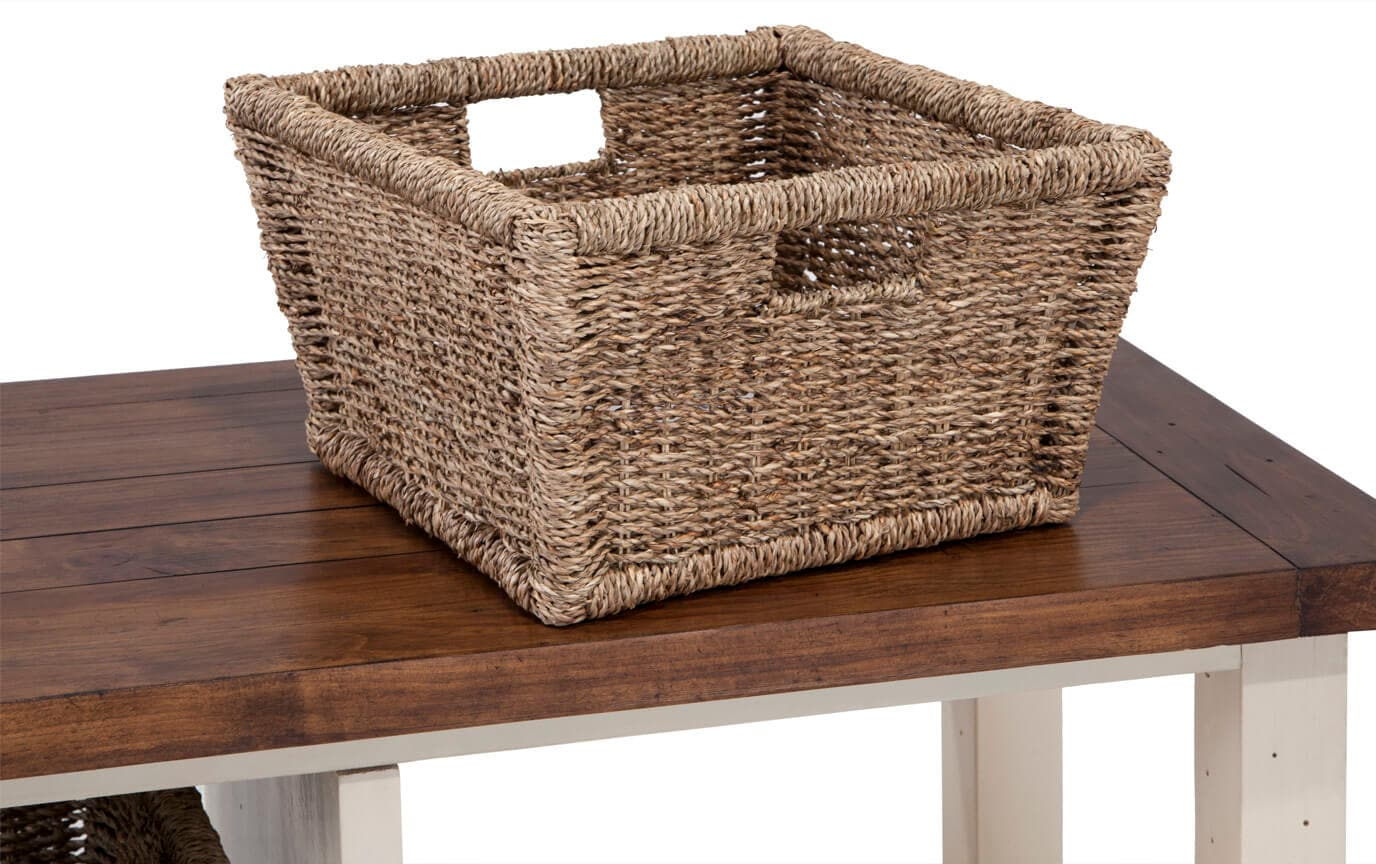 Country White Blanket Basket Bench
