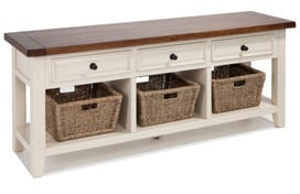3 Basket White/Oxford Console Table