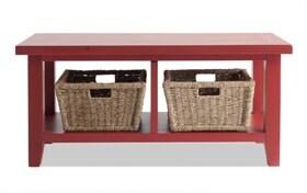 Red Blanket Basket Bench