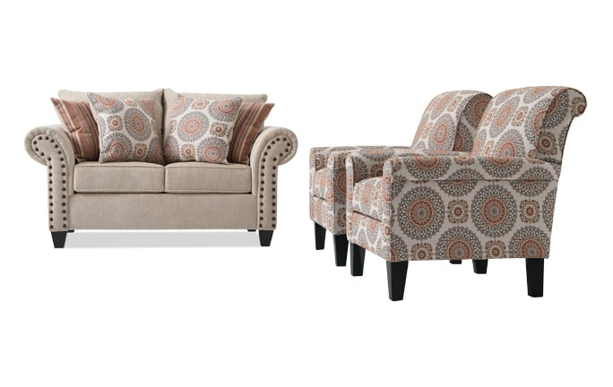 Artisan Loveseat U0026 2 Accent Chairs