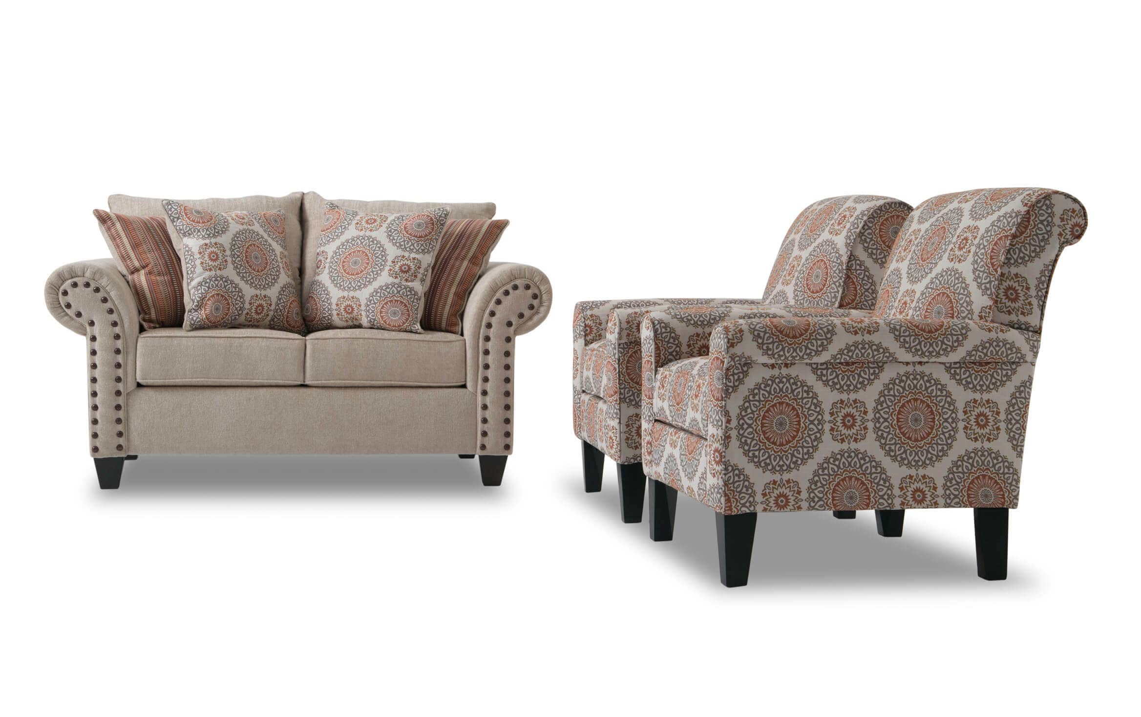Picture of: Artisan Beige Loveseat 2 Accent Chairs Bobs Com