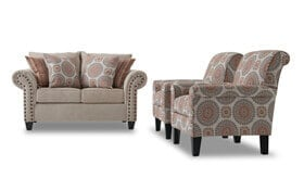 Artisan Beige Loveseat & 2 Accent Chairs