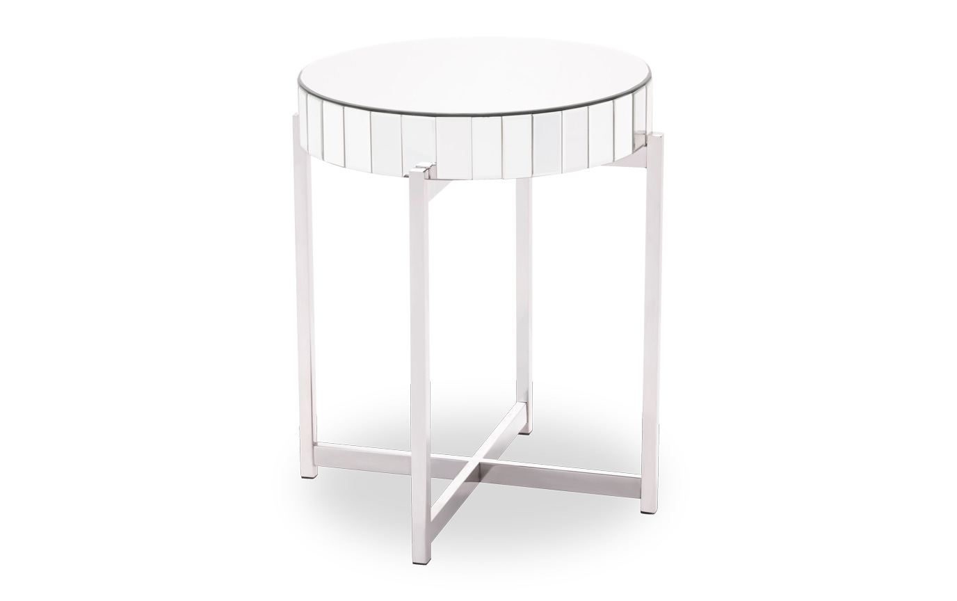 Mirrored X Circular End Table