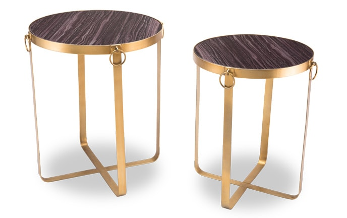 Set of 2 Purple & Gold Tables