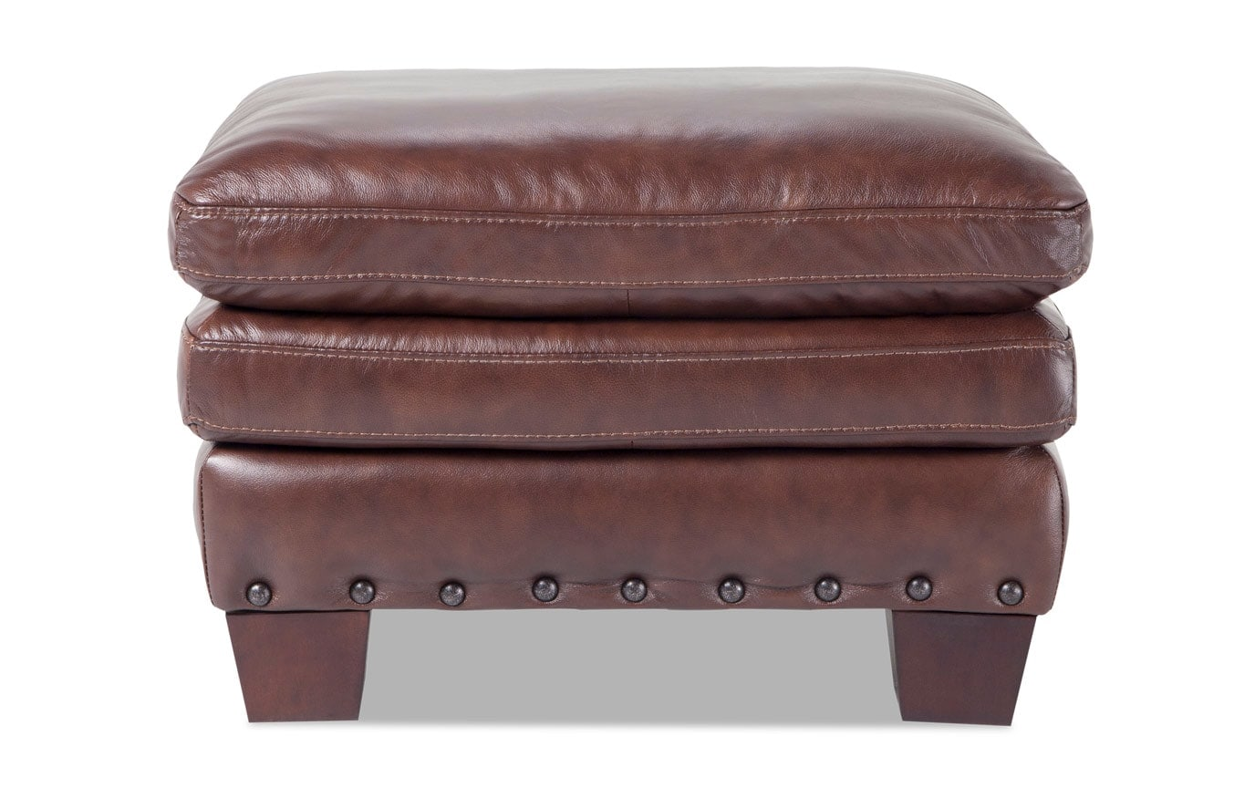 Kennedy Brown Leather Ottoman