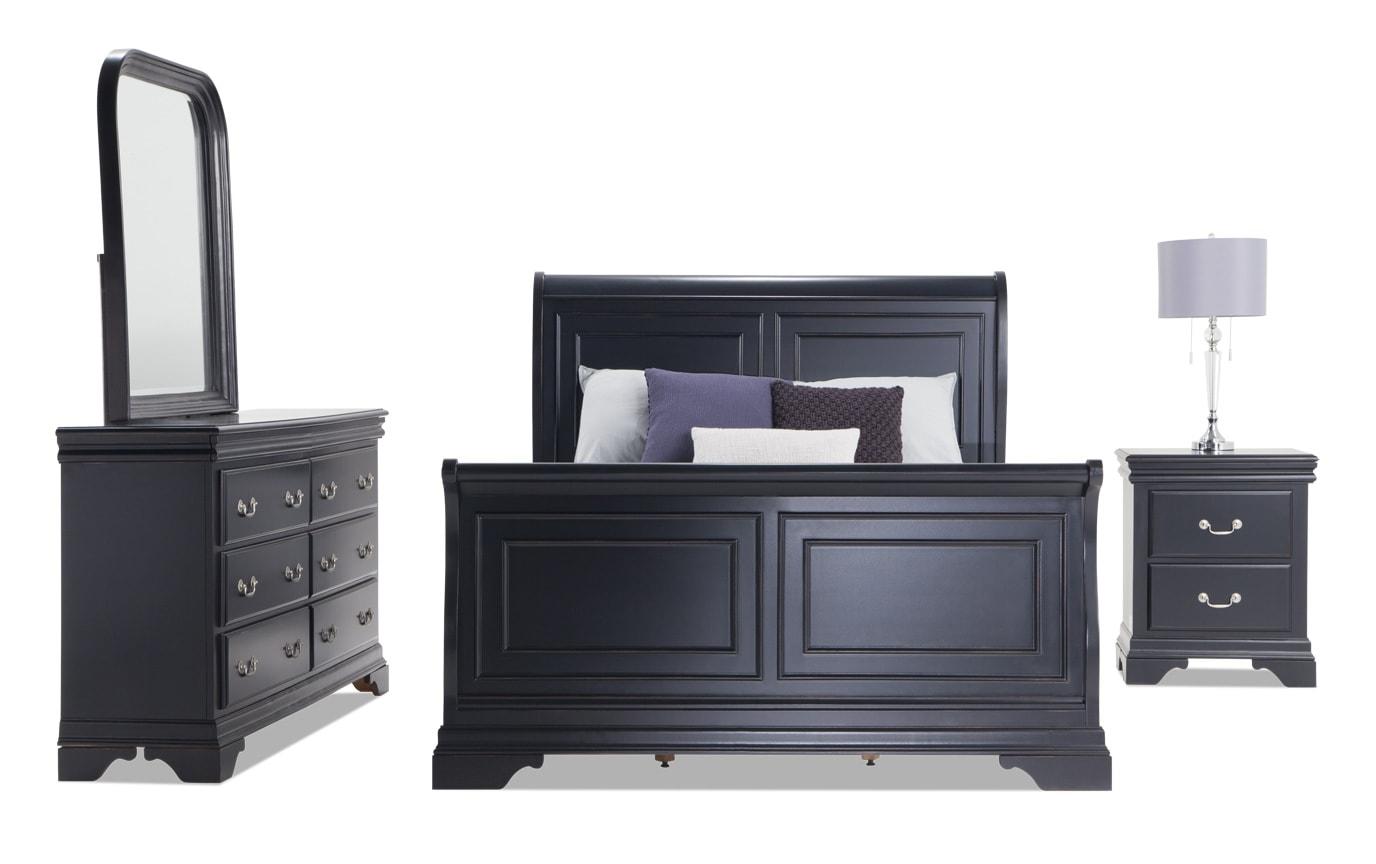 Louie Louie Full Black Bedroom Set